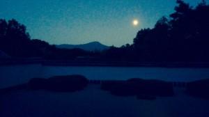 美しい枯山水は 落ち着いた雰囲気が漂います。   借景は雄大にそびえる比叡山と満月。