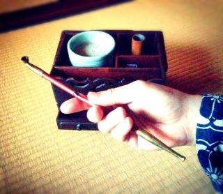 煙管  弘法市で購入した煙管盆と撮影 素敵です♪ 和文化バンザイ!